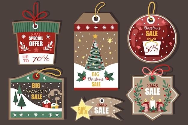 Vintage weihnachtsverkauf tag-sammlung Kostenlosen Vektoren