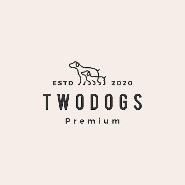 Vintage weinlogo mit zwei hunden Premium Vektoren