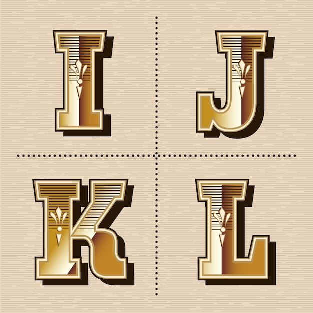 Vintage westlichen alphabet buchstaben schriftdesign vektor-illustration (i, j, k, l) Premium Vektoren