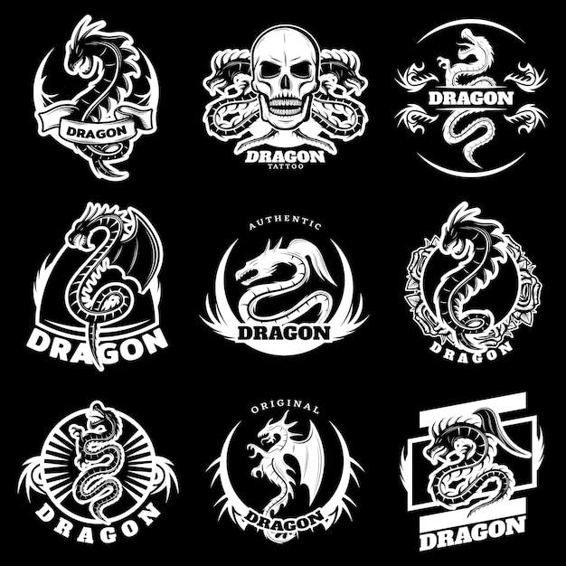 Vintage white dragon tattoo etiketten set Kostenlosen Vektoren