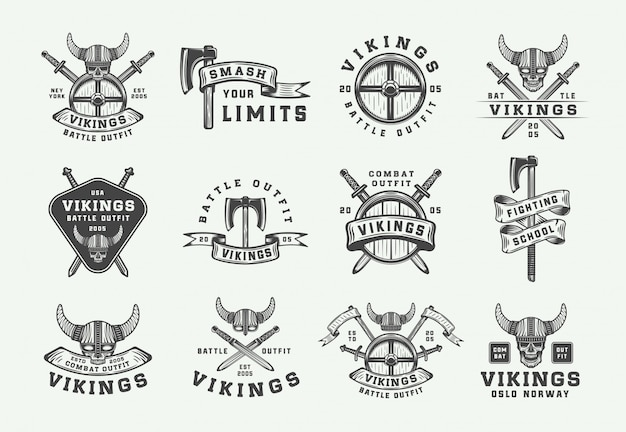 Vintage wikinger motivlogo Premium Vektoren