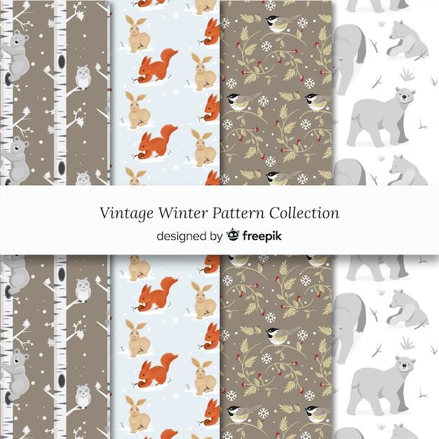 Vintage winter-muster-kollektion Kostenlosen Vektoren