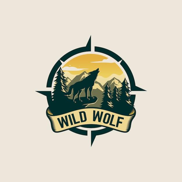 Vintage wolf logo design Premium Vektoren