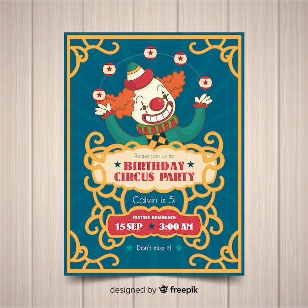 Vintage zirkus party einladungskarte vorlage Kostenlosen Vektoren