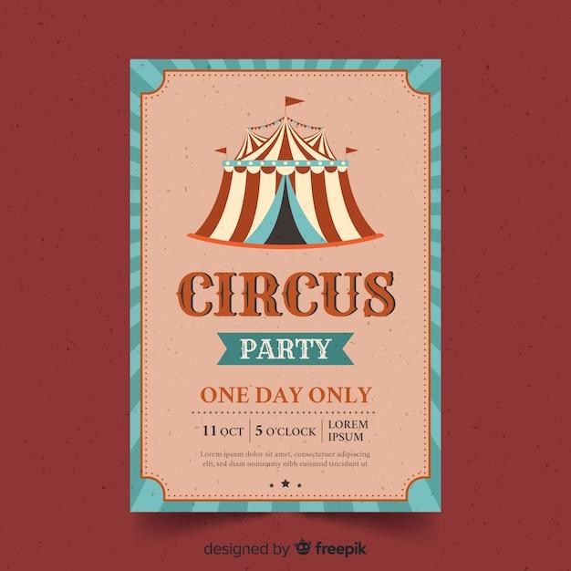 Vintage zirkus party einladungskarte Kostenlosen Vektoren