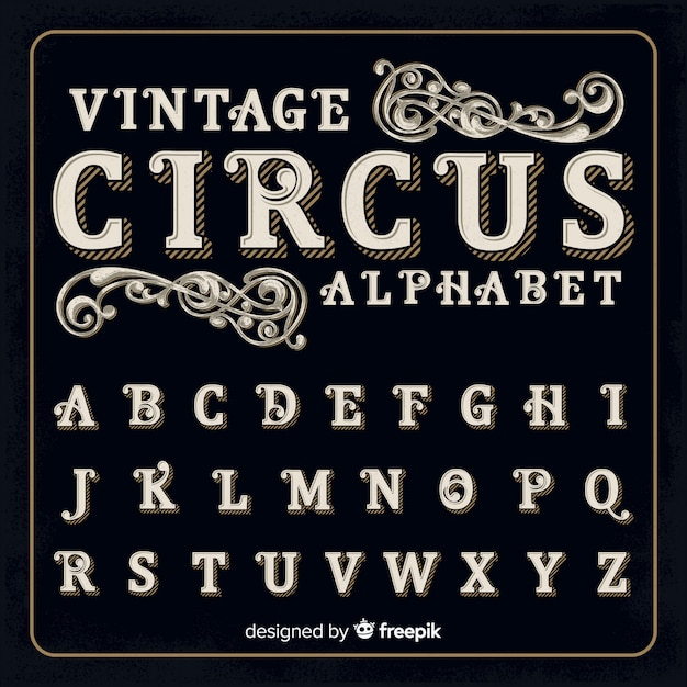 Vintage zirkusalphabet Kostenlosen Vektoren