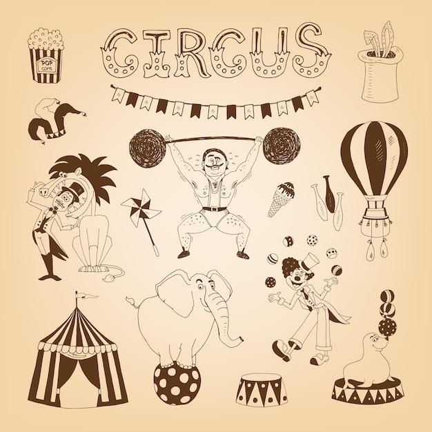 Vintage zirkuselemente für plakatgestaltung mit elefanten- und löwenbändiger Kostenlosen Vektoren