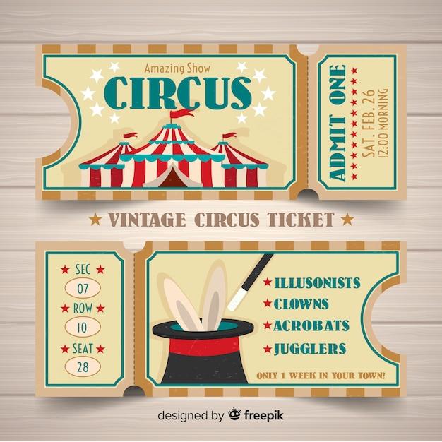 Vintage zirkusticket Kostenlosen Vektoren