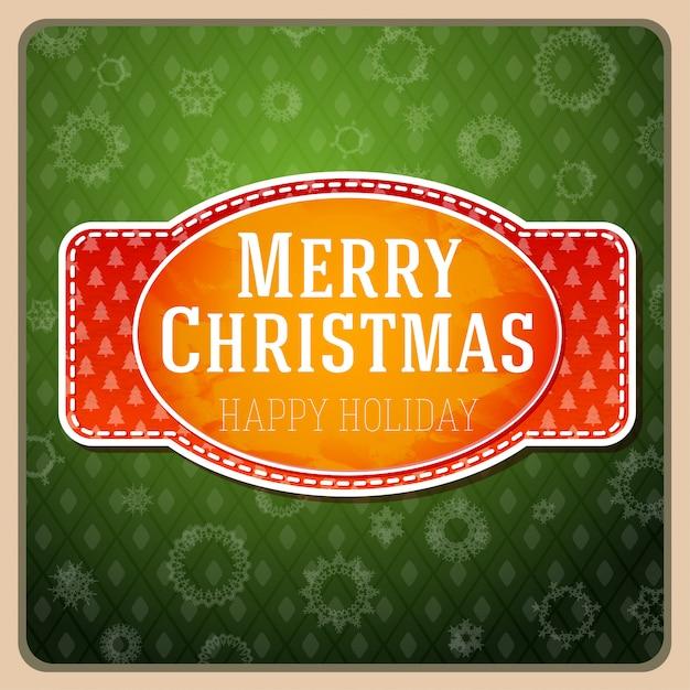 Vintager stilisierter roter aufkleber der frohen weihnachten, mit beschaffenheit und band mit weihnachtsbäumen Premium Vektoren