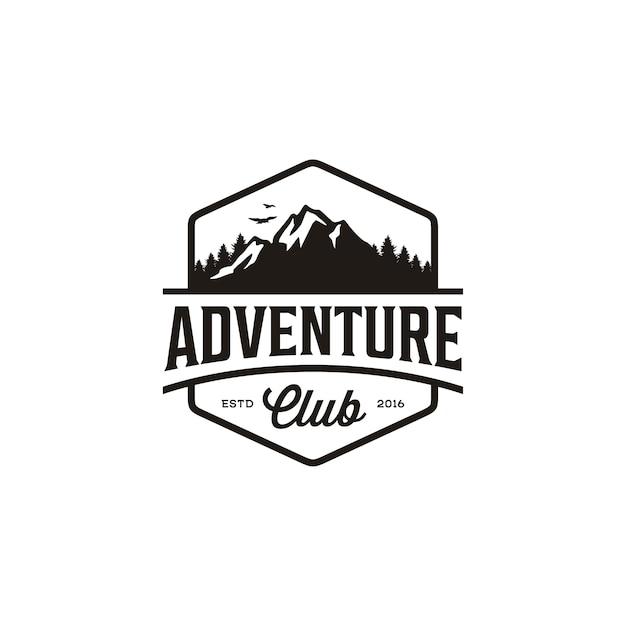 Vintages abzeichen der gebirgsabenteuerreise, forest hill camp-logoentwurf Premium Vektoren