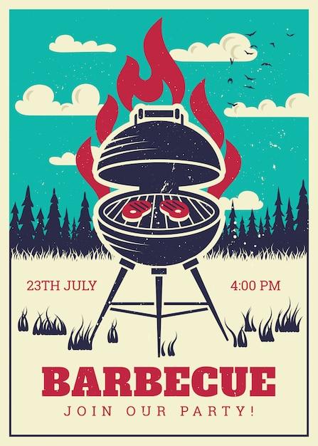 Vintages bbq-grill-partyplakat. lecker gegrillte burger und familiengrill Premium Vektoren