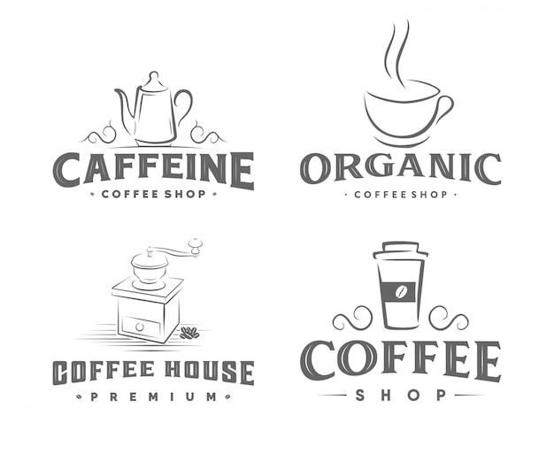 Vintages kaffeerösterlogo Premium Vektoren