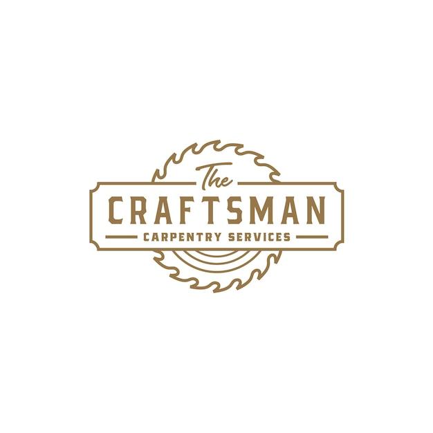 Vintages retro handwerker-zimmerei-logo Premium Vektoren