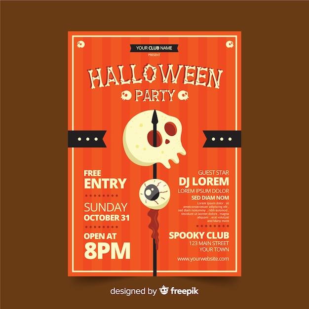 Vintages schädelplakat für halloween-party Kostenlosen Vektoren