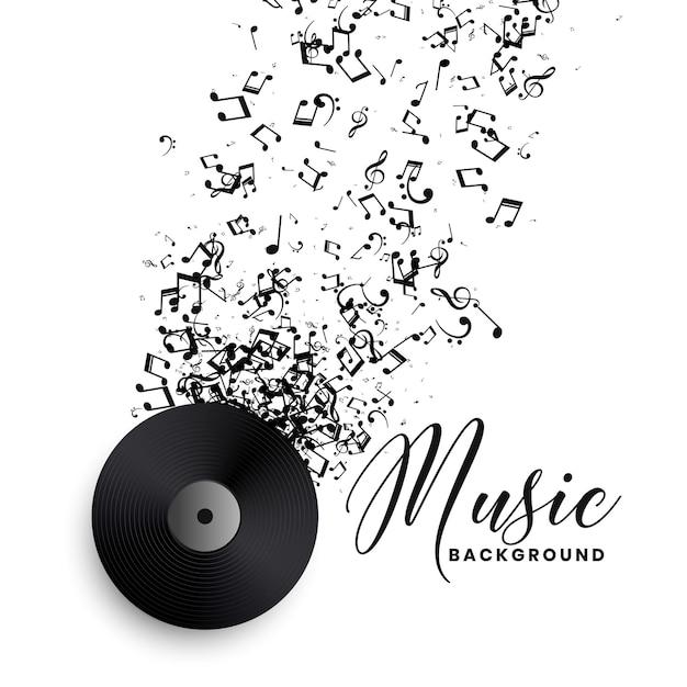Vinyl des musikplattenlabels mit platzendem notenhintergrund Kostenlosen Vektoren