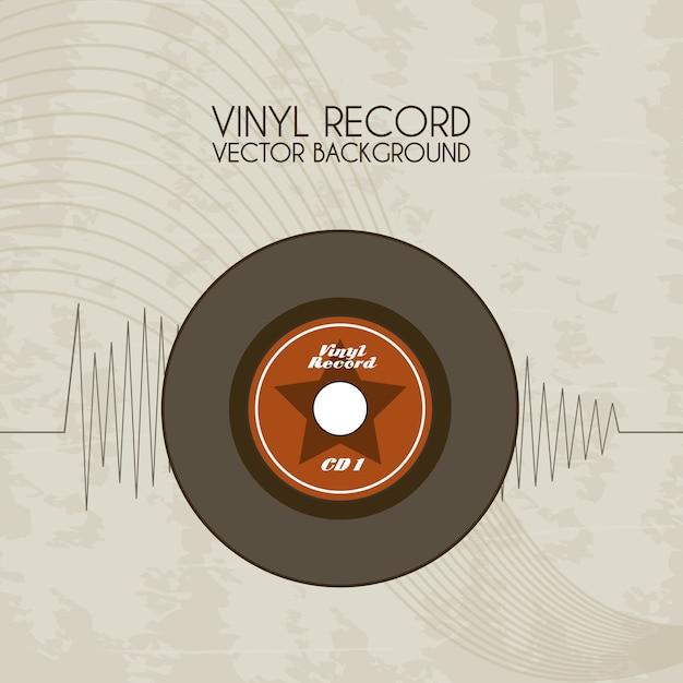 Vinyl-record-symbol über vintage-hintergrund Premium Vektoren