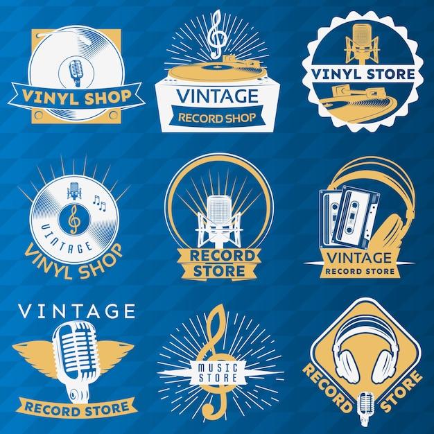 Vinyl vintage label set Kostenlosen Vektoren
