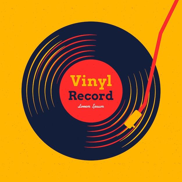 Vinylaufzeichnungsmusik mit gelber grafik Premium Vektoren