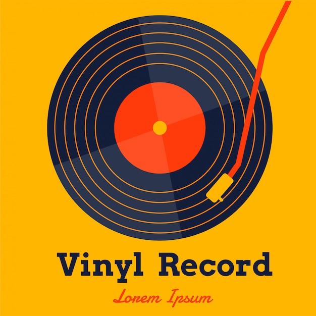 Vinylaufzeichnungsmusikvektor mit gelber grafik Premium Vektoren