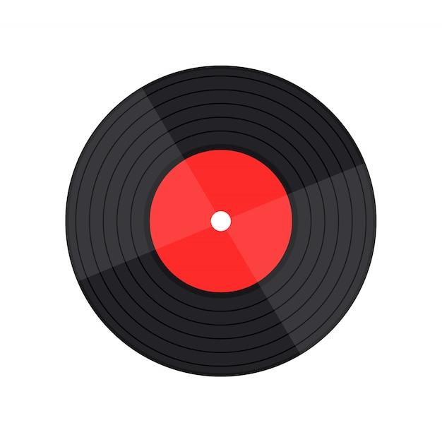 Vinylaufzeichnungsmusikvektor mit vinylaufzeichnungswort Premium Vektoren