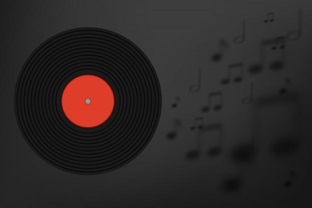 Vinylplatte mit musikanmerkungshintergrund in der papierkunst Premium Vektoren