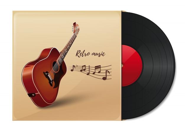Vinylscheibe in einem papierumschlag mit dem bild einer akustikgitarre. schallplatte im vintage-papierumschlag. retro musik. Premium Vektoren