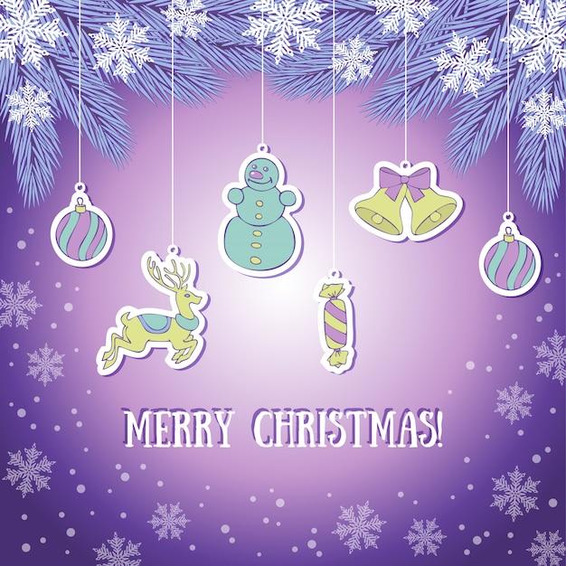 Violete weihnachtsgrußkarte Premium Vektoren