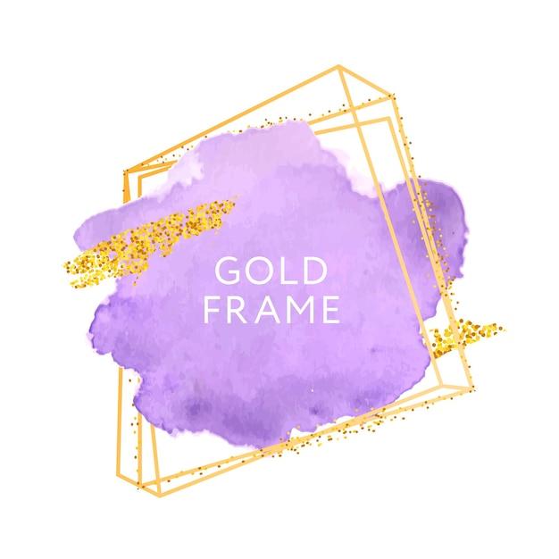 Violette pinselstriche und goldrahmen. Premium Vektoren