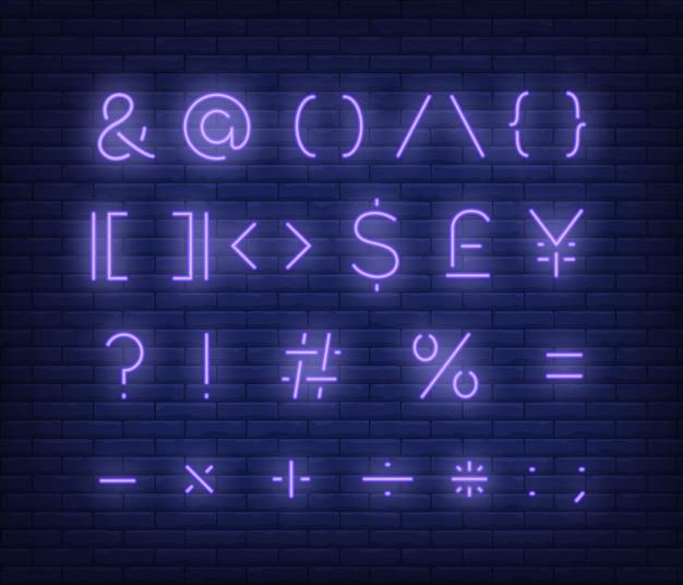 Violette textsymbole leuchtreklame Kostenlosen Vektoren