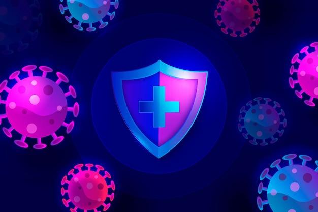 Violette und blaue coronavirus-bakterien und schildhintergrund Kostenlosen Vektoren