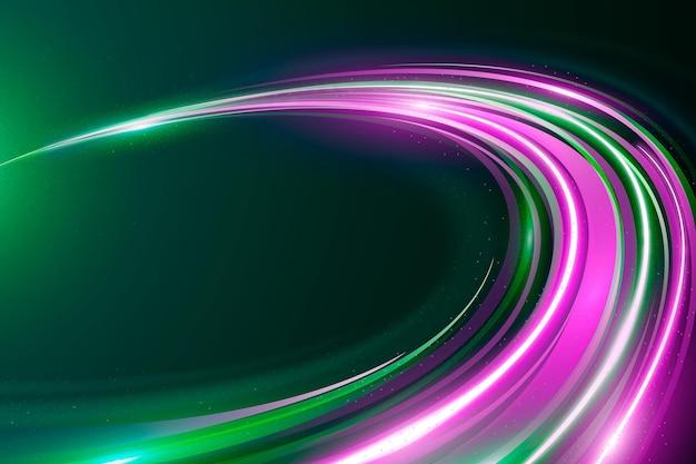 Violette und grüne geschwindigkeit neonlichter hintergrund Kostenlosen Vektoren