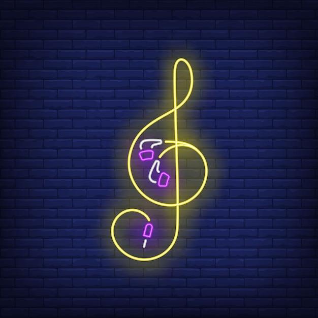 Violinschlüssel aus ohrhörerkabel leuchtreklame Kostenlosen Vektoren