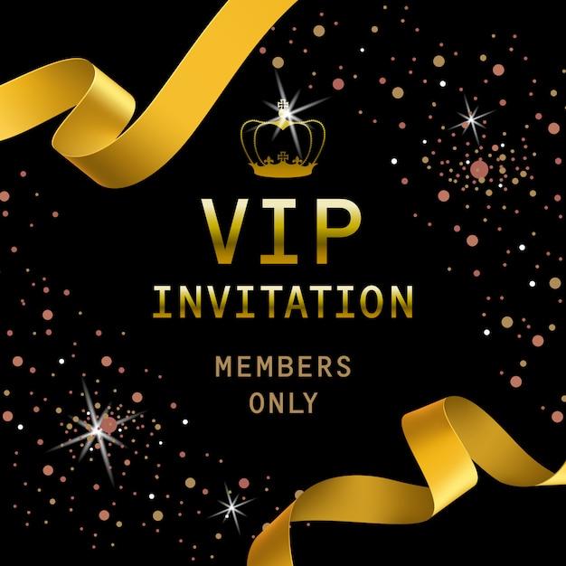Vip einladungsbeschriftung mit goldenen bändern und krone Kostenlosen Vektoren