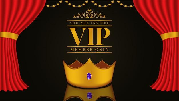 Vip-einladungsschablone mit goldener krone Premium Vektoren