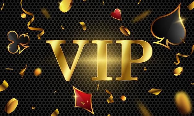 Vip poker luxus vip einladung mit konfetti celebration party glücksspiel banner hintergrund. Premium Vektoren