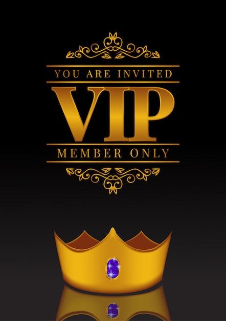 Vip-poster mit goldener krone Premium Vektoren