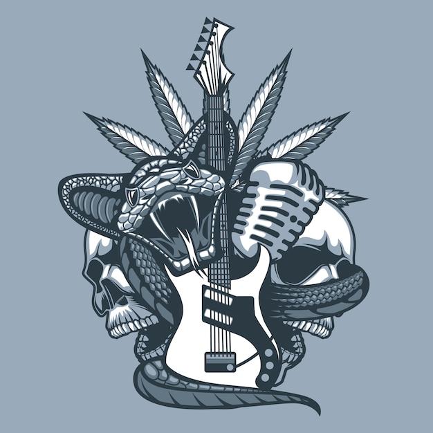 Viper umhüllt die gitarre Premium Vektoren