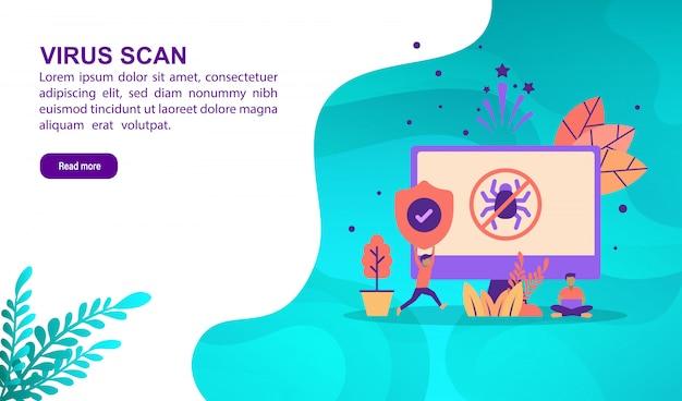 Virenscan-illustrationskonzept mit charakter. zielseitenvorlage Premium Vektoren