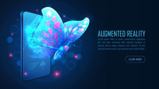 Virtual butterfly augmented reality fliegen aus dem smartphone-hintergrundkonzept heraus Premium Vektoren