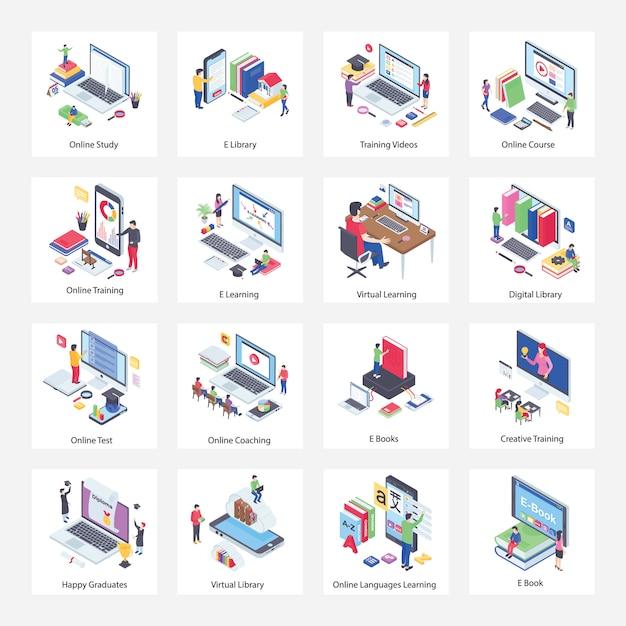 Virtual education isometric illustrations pack Premium Vektoren