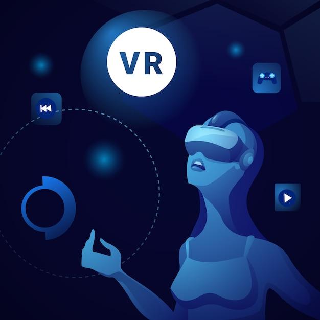 Virtual reality bnnaer mit frau mit vr goggles oder glasses gaming Premium Vektoren