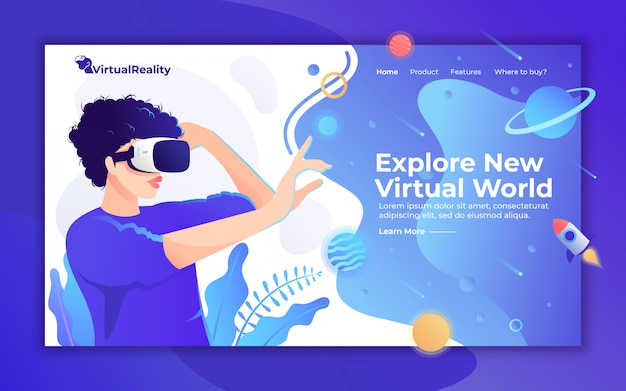 Virtual reality homepage, frau mit vr-headset-illustration für landingpage-website Premium Vektoren