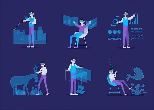 Virtual-reality-konzept mit mann, der virtual-reality-brille trägt Premium Vektoren