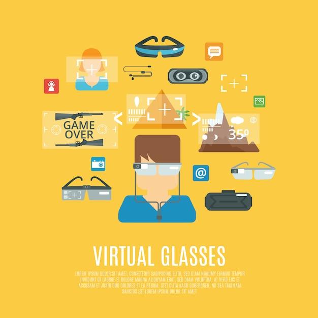 Virtuelle brille flach Kostenlosen Vektoren