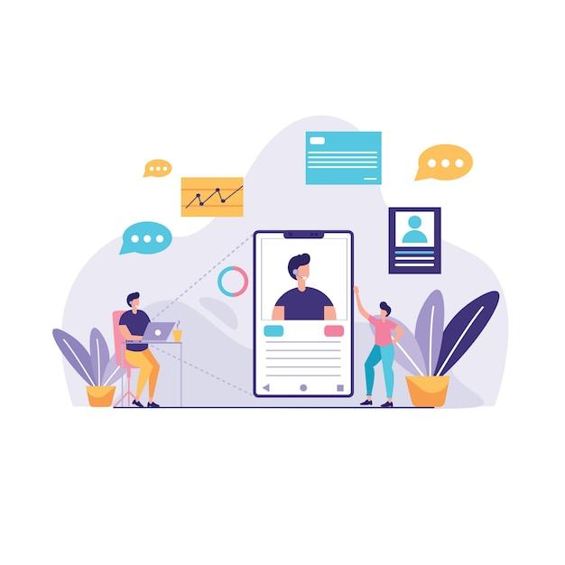 Virtuelle business assistant abbildung Premium Vektoren