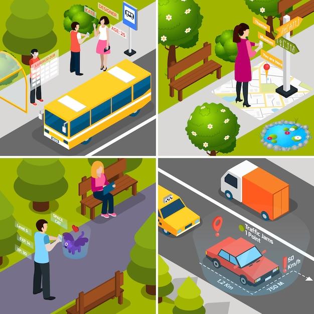 Virtuelle erweiterte realität isometrische icon-set Kostenlosen Vektoren