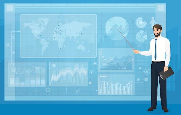 Virtuelle geschäftsdarstellung Premium Vektoren
