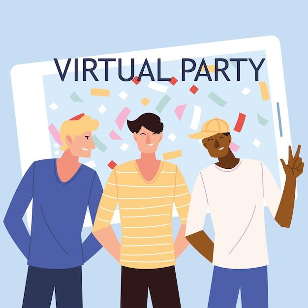 Virtuelle party männer cartoons vor smartphone-design, alles gute zum geburtstag und video-chat Premium Vektoren