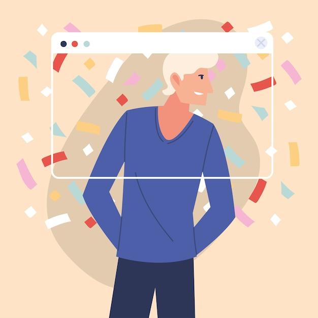 Virtuelle party mit blondinenkarikatur und konfetti im bildschirmdesign, alles gute zum geburtstag und video-chat Premium Vektoren
