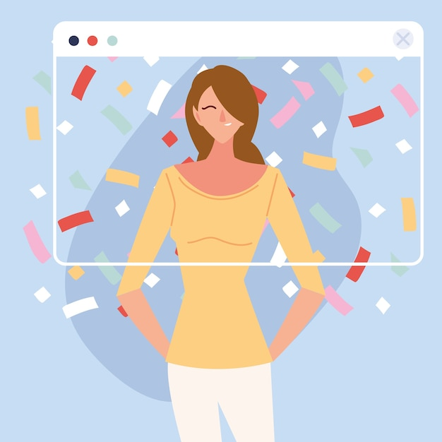 Virtuelle party mit braunem haar frau cartoon und konfetti im bildschirmdesign, alles gute zum geburtstag und video-chat Premium Vektoren